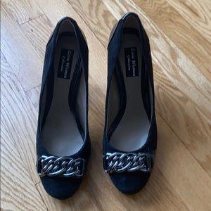"Zara black suede, black patent leather block 3"""